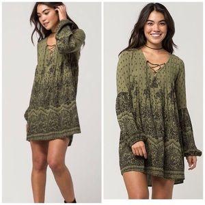 Billabong Lace Up Dress Olive Green Long Sleeve